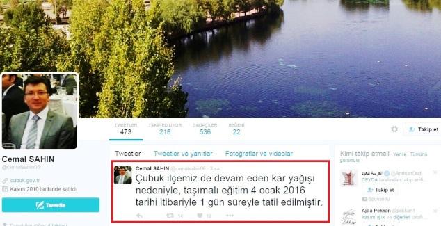 Tatili Kaymakam Twitter dan Haber Verdi