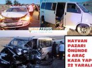 Canlı hayvan pazarı önündeki kazada 22 kişi yaralandı