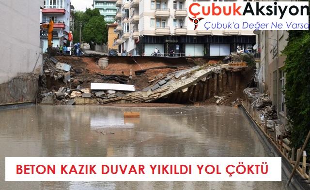 Beton kazık duvar yıkıldı yol çöktü